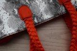 Orange avec l'argent en microfibre PU Fashion Lady sac fourre-tout avec poignées tissé
