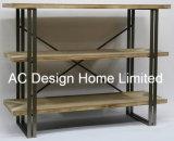 3 visualizzazioni di legno dell'annata della fila/del metallo decorative antiche mensola del cassetto