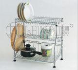 Cremalheira de Drainer de prato ajustável da cozinha do metal do cromo