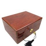 Gabinete retangular médio high-density da placa de fibra da pintura de madeira de primeira qualidade do piano da caixa de relógio com a caixa de presente da corrente chave