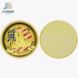 A annoncé la pièce de monnaie militaire de souvenir de marine en laiton des Etats-Unis avec la couleur d'émail (JIABO-1026)