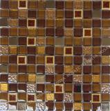 Brillant couleur marron, Goldleaf cristal Mosaïque Mosaïque de verre, céramique mixte Mosaïque de verre