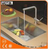 Golpecito de agua Finished aplicado con brocha del fregadero de cocina del níquel PVD