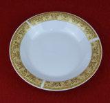 Vente chaude autour de la vaisselle en céramique de Decaled d'or