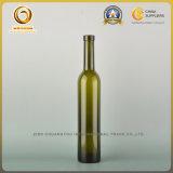 Botella de vino de cristal del diseño verde de 500ml Uniue con el corcho (032)