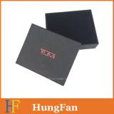 Rectángulo de regalo de papel de lujo modificado para requisitos particulares del negro de la marca de fábrica/rectángulo de empaquetado