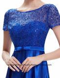 女性のAラインの不足分の袖の優雅なサテンの夕方党プロムの服