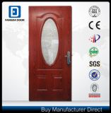 Fangda exterior de color rojo de granos de madera de teca de PVC puerta de la película Derorative