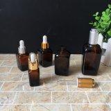 botella de petróleo esencial de cristal ambarina cuadrada del cristal de botellas del cuentagotas 30ml