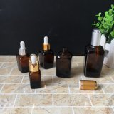 квадратная янтарная стеклянная бутылка эфирного масла стекла бутылок капельницы 30ml