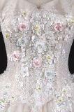 花嫁衣装のウェディングドレスのガウンLt7514を均等にするレースに玉を付けるキャップされた袖