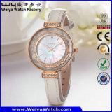 Reloj impermeable de la mujer del cuarzo de la correa de cuero de la manera OEM/ODM (Wy-101E)