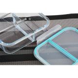 2 Teiler-Fach-Glasmahlzeit-Vorbereitungs-Behälter mit dem Sperrung der Kappe