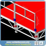 販売のためのAdjustabelの高さの赤いプラットホームの携帯用アルミニウム段階