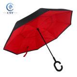 Paraguas invertido de doble capa con Forma C asa para el manos libres