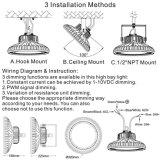 Освещение залива UFO СИД пакгауза опционное) 135000lm коммерчески 100W Dimmable (высокое