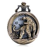 Подарок Xmas бронзовый Tiger полой Quartz карман смотреть