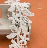 백색 레이온 유럽 결혼 예복 레이스 손질