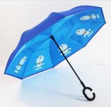 Promotional Babies Boys Girls Students Cartoon Kids Rain Character Cheap Children C Handle Transfers Upside Down Umbrella