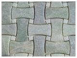 Ming basketweave del mármol 1X2 de piedra natural verde el '' con blanco puntea el azulejo de mosaico
