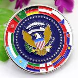 Pièce de monnaie colorée américaine personnalisée bon marché en gros d'aigle d'argent en lingot de vieil or des Etats-Unis en métal aucun minimum