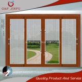 Puerta deslizante de cristal americana de la aleación de aluminio del estilo con los obturadores/las persianas