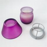 Purpurrote bereifte Geschenk-gesetzte Kerze mit Glasabdeckung