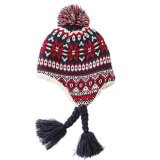 100%Acrylicによって編まれる冬のわな猟師の耳の折り返しは帽子についてへまをする