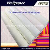 Papel pintado natural no tejido del papel pintado verde claro 3D para la decoración casera los 0.53*10m
