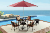 Patio extérieur / jardin /// Table en aluminium moulé en rotin HS6129dt