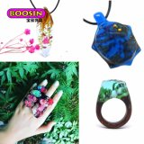 2017 anillos de madera Handcrafted manera de la resina con la flor seca verdadera