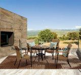 Tableau extérieur/de jardin/patio rotin/fonte d'aluminium avec le dessus de table de marbre HS6177dt
