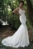 Sleevless Bridal Gown Laces Mermaid Backless Wedding Dress Z2073