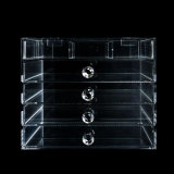 Organisateur acrylique clair de produit de beauté de renivellement 5 de tiroir multifonctionnel de la rangée 10