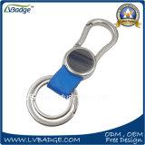 PU Keychain de cuero de la venta de la fábrica con el anillo dominante