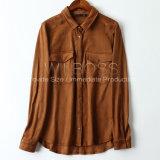 Longue chemise de chemise de suède élastique en gros de mode