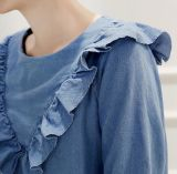 Pannello esterno diritto del denim del foglio del loto del pannello esterno della maglietta dell'OEM