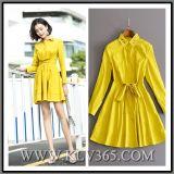 Partito lungo A - riga vestito del manicotto delle signore di modo di colore giallo casuale del cotone dalla camicia