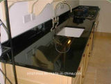 Comptoir de granit noir Galaxy marbre artificiel Engineered quartz haut de la cuisine