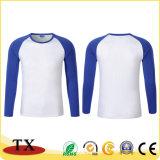 Promoción de suave algodón cosido Unisex Manga Larga Camiseta de color