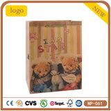 Beau sac de papier d'emballage de cadeau d'achats de chandail de chaussure de thé d'ours