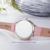 Couro OEM Senhoras Quartz Relógios sabia, Senhora Mulher Assista (WY-17033)