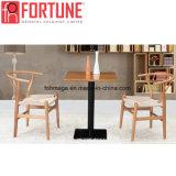 Design especial Praça moderno Restaurante Madeira Mesa com cadeira de couro (FOH-BCA07)