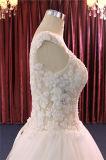 Reale Probe, die Applique-Kugel-Brautkleid bördelt