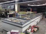 L'automobile disgela il congelatore del supermercato dell'isola per la visualizzazione degli alimenti Frozen