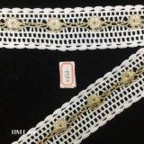 riga della frangia del doppio dell'occhiello di 5.5cm con il tessuto ricamato Hme863 del merletto della guarnizione del fiore dell'oro