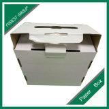 Rectángulo de papel de empaquetado del blanco llano con la maneta