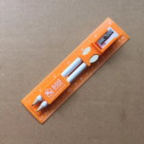 righello dello Straightedge stampato doppio lato di 15cm con la matita e temperamatite e gomma