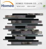 Nouvelle tendance Europen style salle de bains en verre mosaïque en aluminium gris foncé longue bande Mosaïque de verre