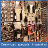 High-end Customized Stainless Steel Rose Gold Hairline Wine Rack para Adega